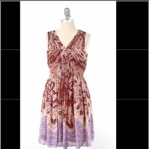 Tibi burgundy lilac paisley silk cocktail dress
